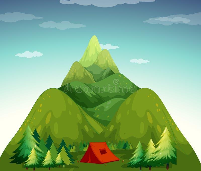 Ein kampierendes Zelt stock abbildung