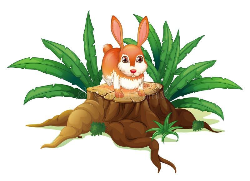 Ein Kaninchen über einem Stamm vektor abbildung