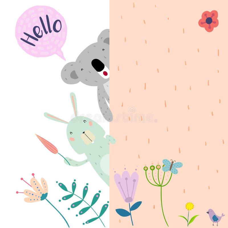 Ein Kaninchen und ein Koala aus der Rückseite der Wand heraus stock abbildung