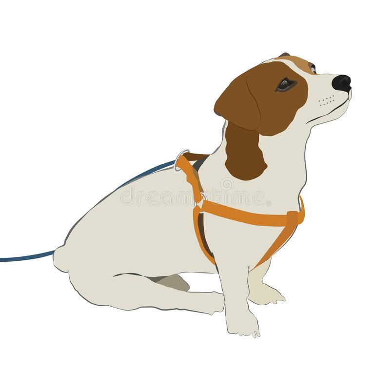 Ein Karikaturhund, der auf den Eigentümer wartet Zeichnen auf weißen Hintergrund stockfotos