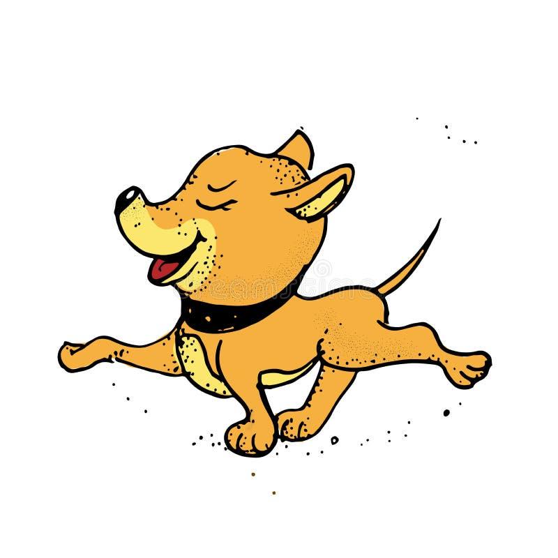 Ein Karikaturhund, wartend, um spazierenzugehen Plakat, T-Shirt Zusammensetzung, handgemachter Druck lizenzfreie abbildung