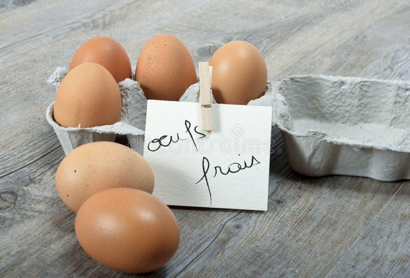Ein Karton von sechs Eiern lizenzfreies stockbild