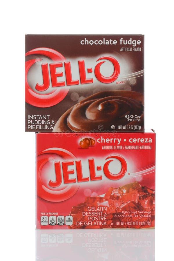 Ein Kasten von Gelatieren-O Cherry Flavored Gelatin und von Schokoladen-Pudding stockbilder