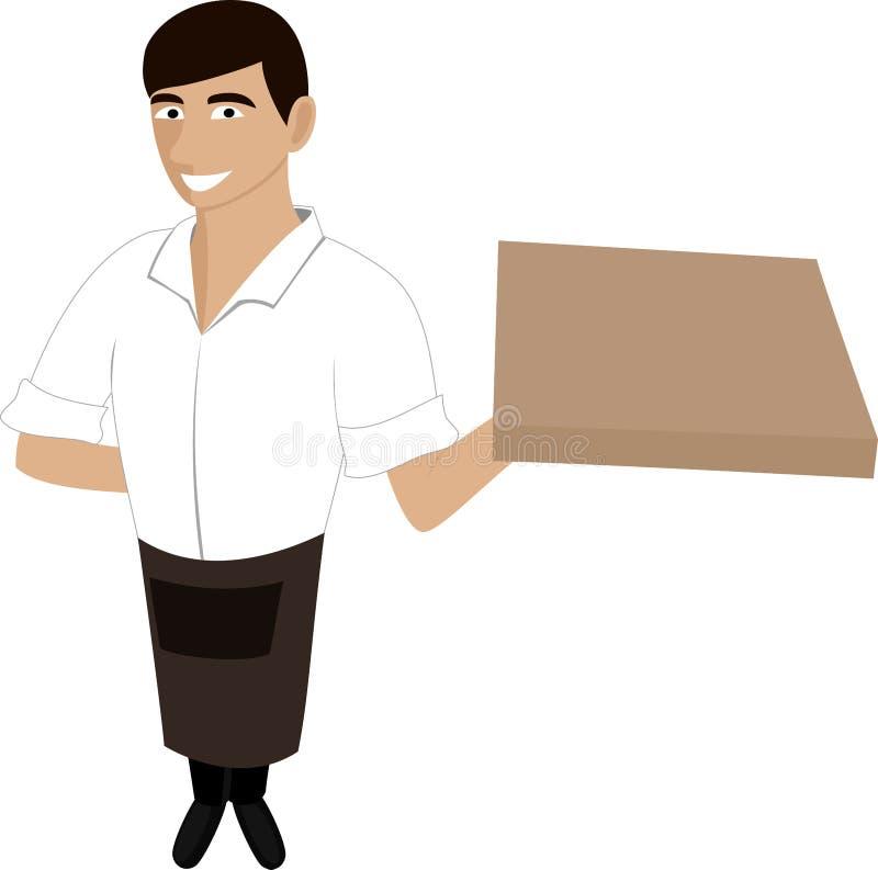 Ein Kellner mit einer Pizza stock abbildung