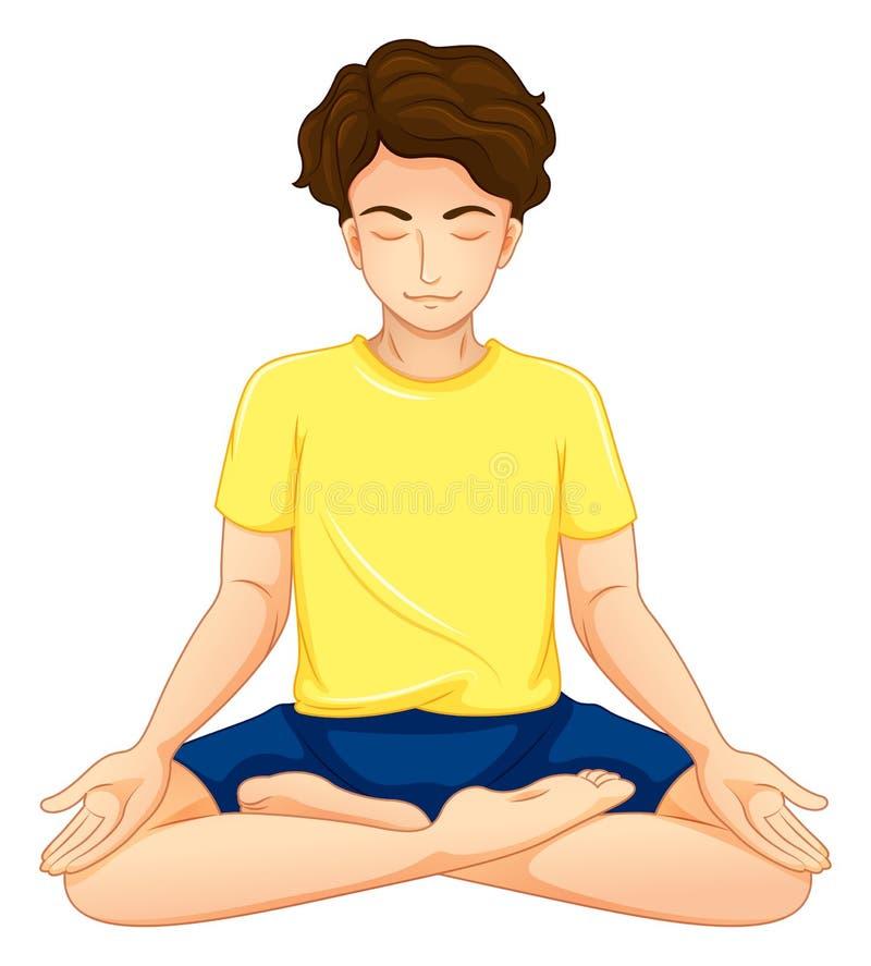 Ein Kerl, der Yoga durchführt vektor abbildung