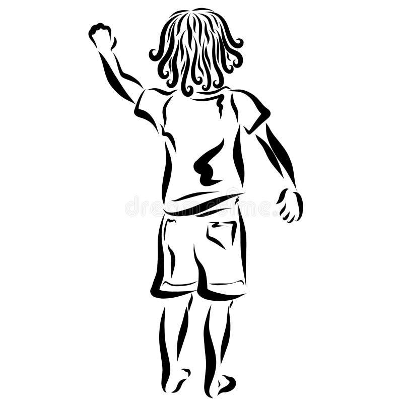 Ein Kind, das seine Hand wellenartig bewegte, zeichnet, schreibt oder klopft stock abbildung