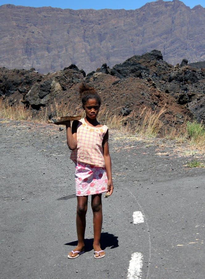 Ein Kind von der Insel von Fogo auf Kap-Verde lizenzfreies stockfoto
