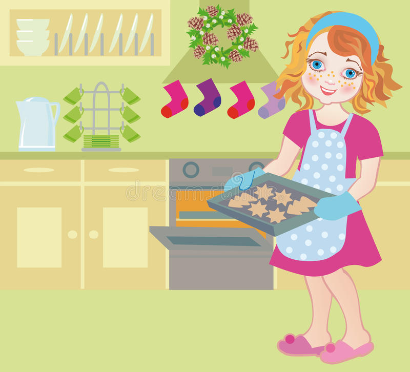 Ein Kind am Weihnachten im Aufkommen, wenn Plätzchen gebacken werden stock abbildung