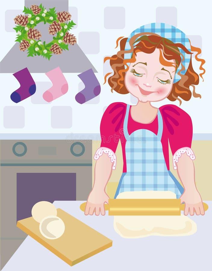 Ein Kind am Weihnachten im Aufkommen, wenn Plätzchen gebacken werden vektor abbildung
