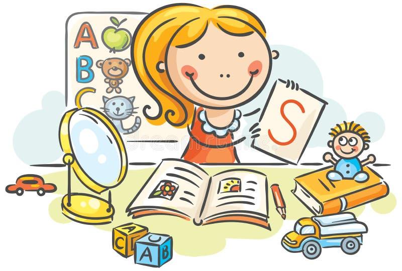 Ein Kinderlogopäde mit Spielwaren, Bücher, Buchstaben, Spiegel stock abbildung