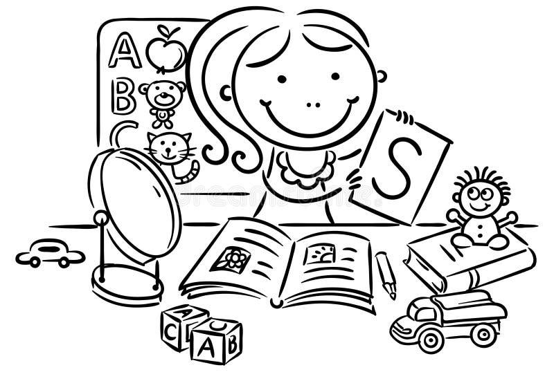 Ein Kinderlogopäde mit Spielwaren, Bücher, Buchstaben, Spiegel vektor abbildung