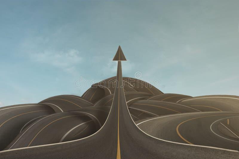 Ein klares Strategiekonzept als ein Pfeil nach oben, dessen Erfolg über verwirrte Wege geht, um in Zukunft Erfolg zu erzielen stockfoto