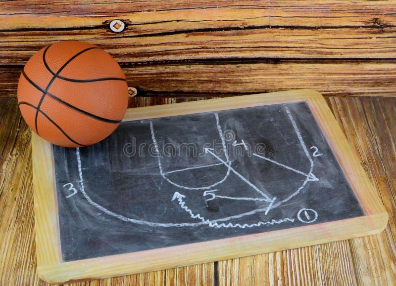 Ein kleiner Basketball und eine Tafel, die ein klassisches Auswahl- und Rollenspiel zeigen stockfotos