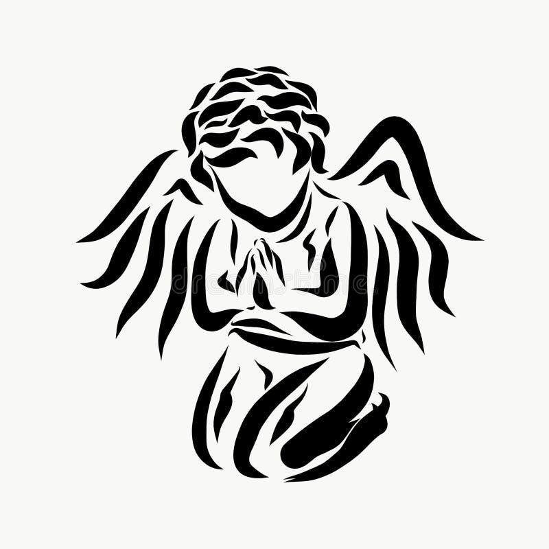 Ein kleiner Engel im bescheidenen Gebet lizenzfreie abbildung