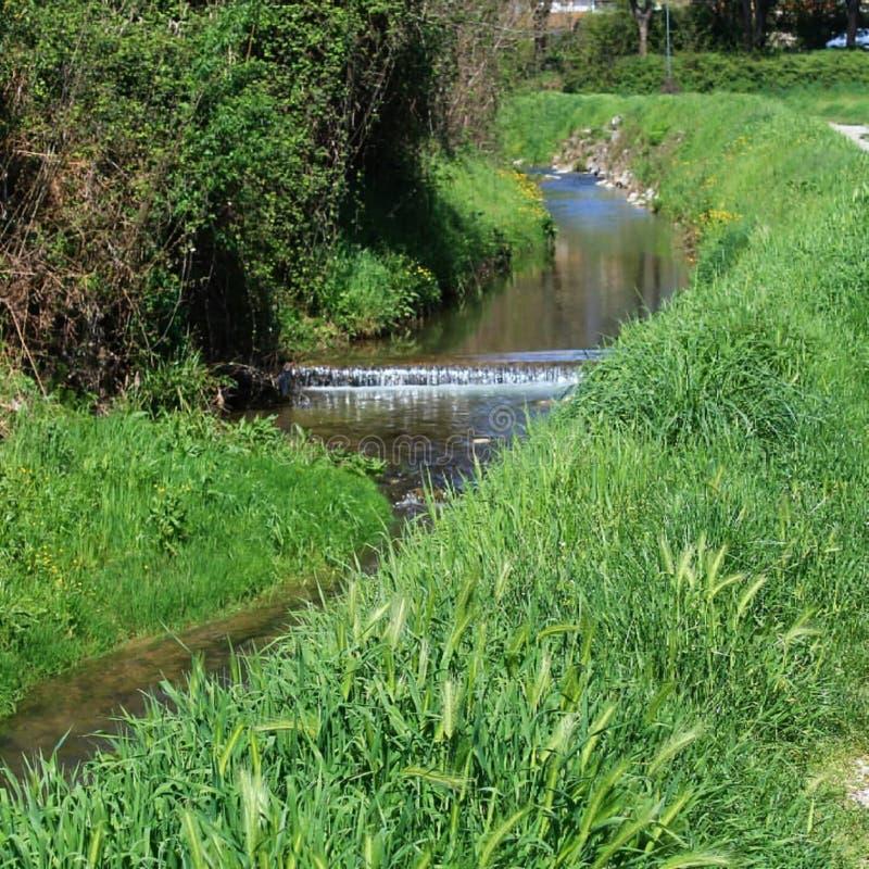 Ein kleiner Fluss nahe der Straße stockfotos