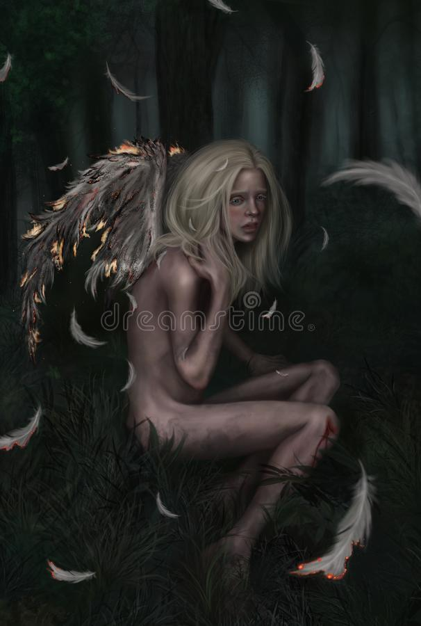 Ein kleiner gefallener Engel lizenzfreie abbildung