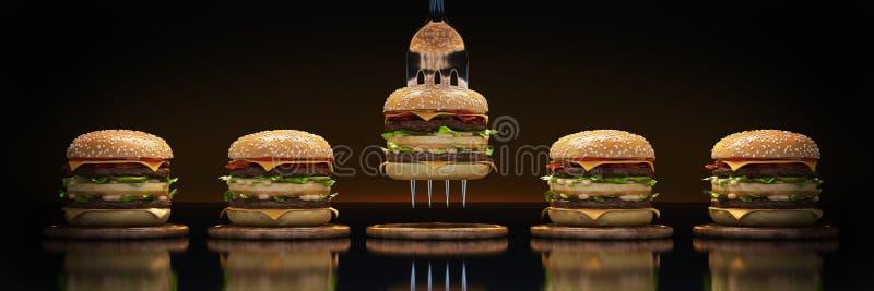 Ein kleiner Hamburger gehaftet in der Gabel Das Konzept der ausreichenden Nahrung vektor abbildung