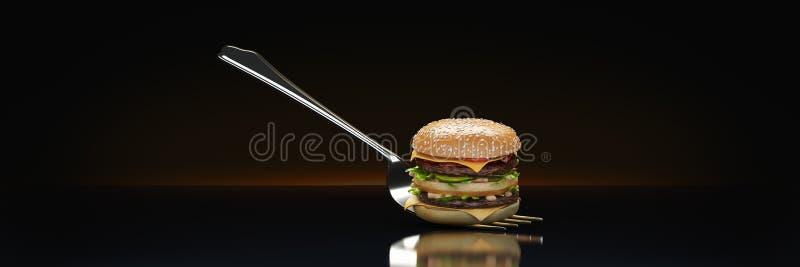Ein kleiner Hamburger gehaftet in der Gabel Das Konzept der ausreichenden Nahrung lizenzfreie abbildung