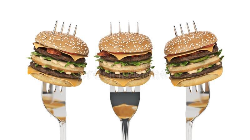 Ein kleiner Hamburger gehaftet in der Gabel Das Konzept der ausreichenden Nahrung stock abbildung