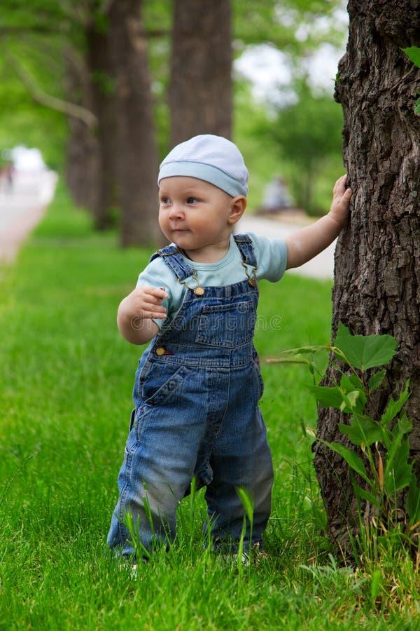 Ein kleiner Junge im Park stockfoto