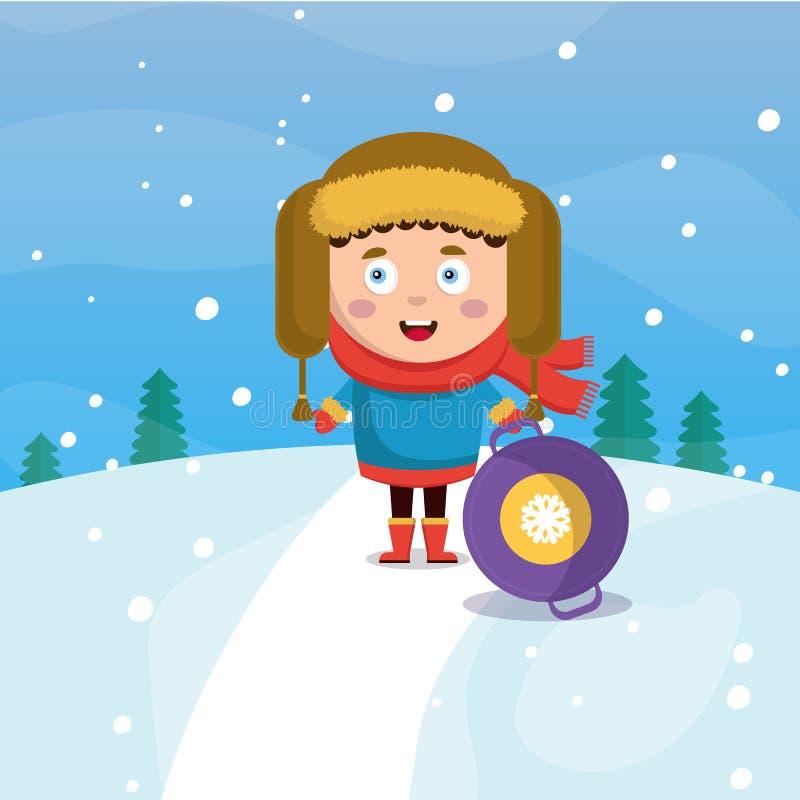 Ein kleiner Junge im Winter rollt unten einen Hügel im Waldschneien Karikatur-Artillustration des Vektors flache, stock abbildung