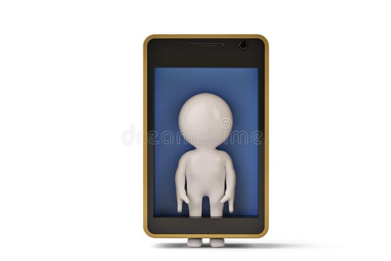 Ein kleiner menschlicher Charakter im Handy Abbildung 3D vektor abbildung