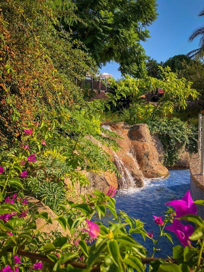 Ein kleiner Wasserfall in einem Park lizenzfreie stockbilder