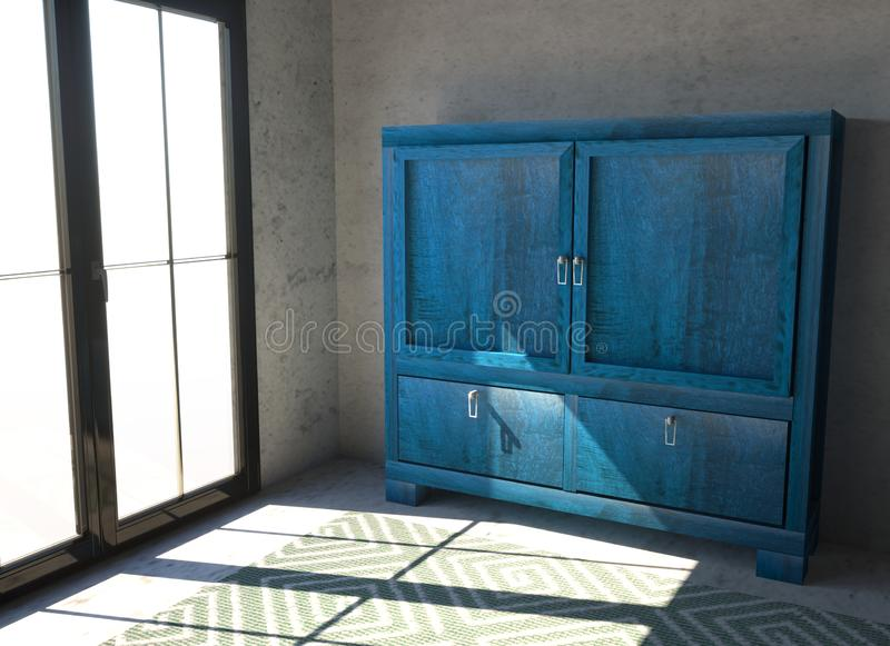 Ein kleines blaues Kabinett mit Türen in einem Raum Raum mit Fenster und Teppich und blauen Anrichte stockbild