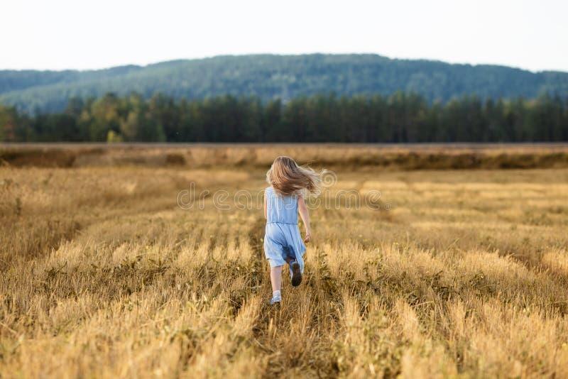 Ein kleines blonde Mädchen läuft im Sommer auf einem Weizenfeld stockfoto