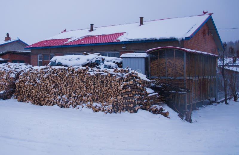 Ein kleines Dorf war beim Schneien lizenzfreies stockbild