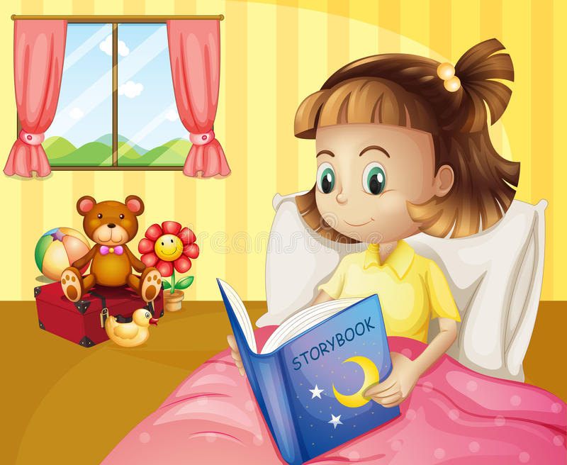 Ein kleines Mädchen, das ein Märchenbuch innerhalb ihres Raumes liest lizenzfreie abbildung
