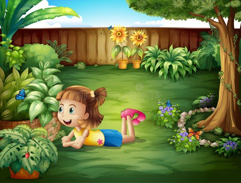 Ein kleines Mädchen, das einen Schmetterling aufpasst vektor abbildung