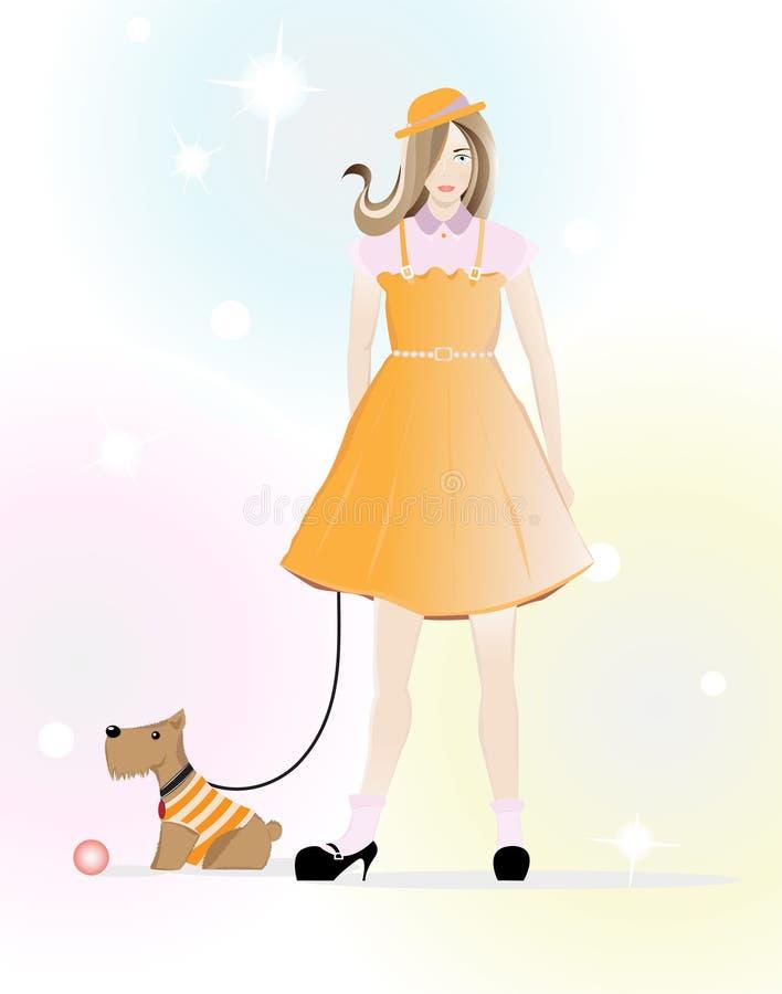 Ein kleines Mädchen, das mit einem Hündchen spazierengeht stock abbildung