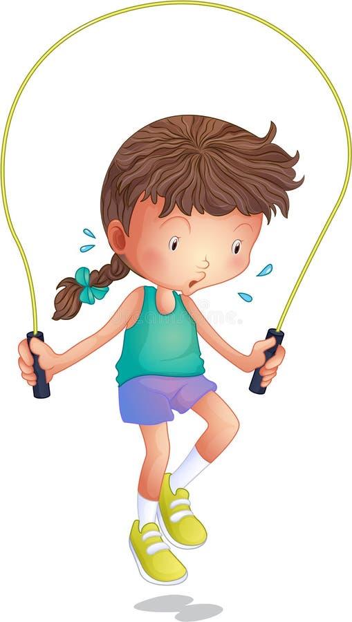 Ein kleines Mädchen, das Springseil spielt stock abbildung