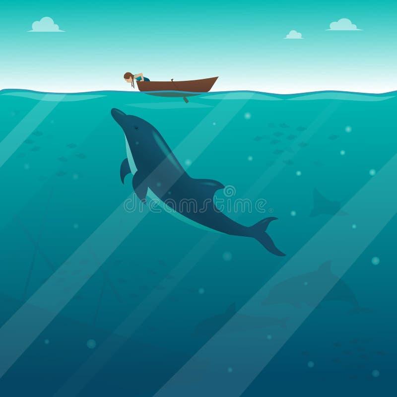 Ein kleines Mädchen in einem Boot, das in das Wasser dem Delphin betrachtet lizenzfreie abbildung