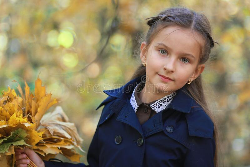 Ein kleines Mädchen mit einem Blumenstrauß von gelben Blättern in den Händen lizenzfreie stockfotos