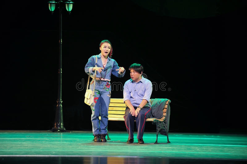 Ein kleines Personal des Mantels Liebe Geschichtejiangxis OperaBlue lizenzfreie stockfotos