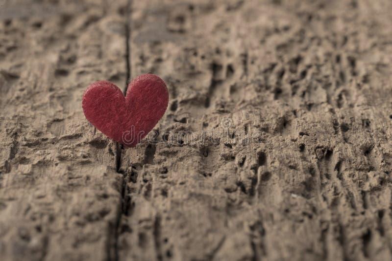 Ein kleines rotes Herz auf hölzernem Hintergrund stockfoto