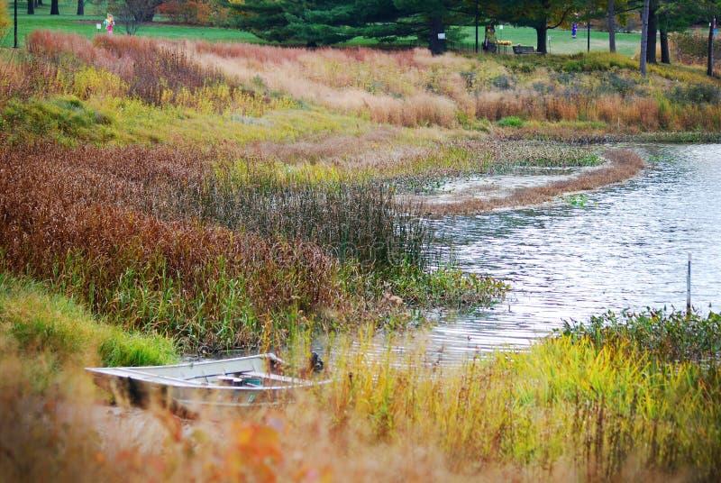 Ein kleines Ruderboot, das auf Seite von See bei Morton Arboretum im Fall sitzt stockfoto