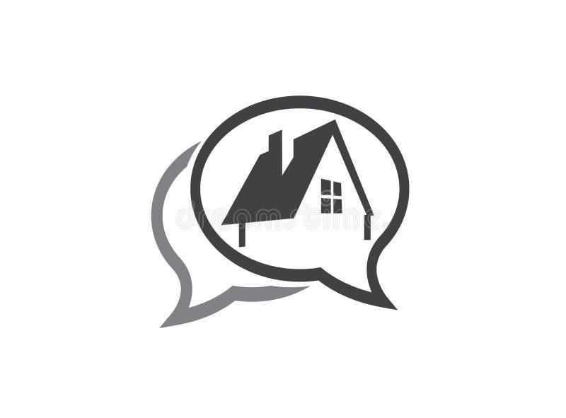 Ein kleines Symbol des umweltgerechten Hauses mit Fenster und Kamin für Logoentwurfsillustration in einer Schwätzchenformikone stock abbildung