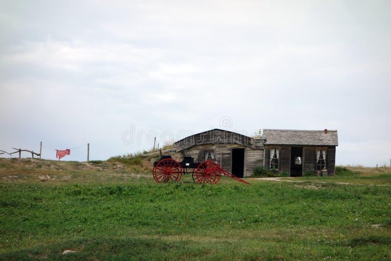 Ein konservierter Bauernhof von den Pioniertagen stockfotos