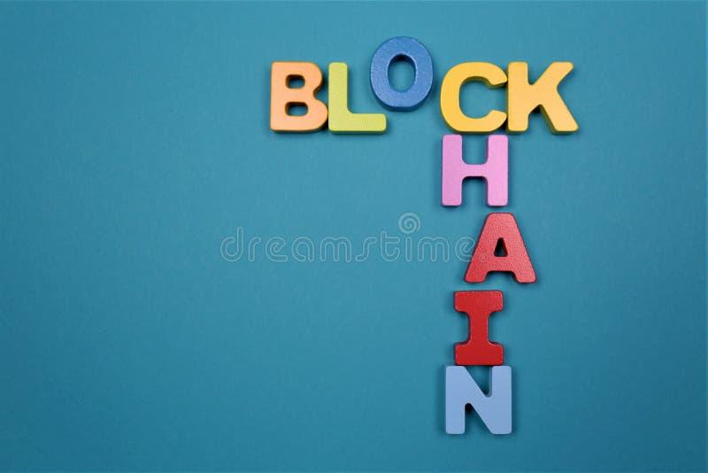 Ein Konzept Bild eines Block-Ketten-Logos mit Kopienraum stockbild
