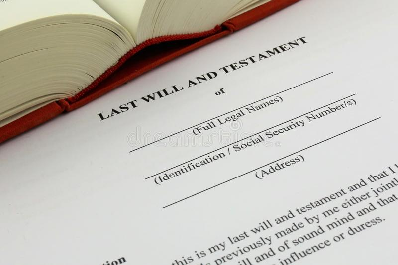 Ein Konzept Bild eines Testaments stockbilder