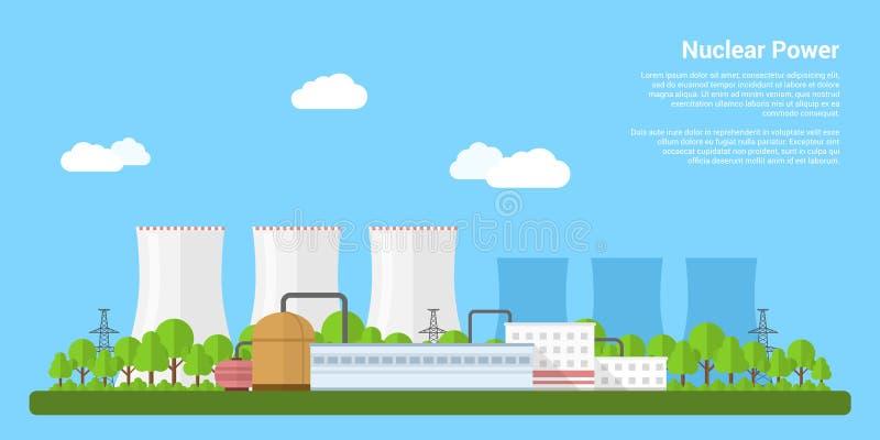 Ein Konzept der auswechselbaren grünen Energie: ein Gänseblümchen und ein Gras über dem Symbol der defekten Kernkraft lizenzfreie abbildung