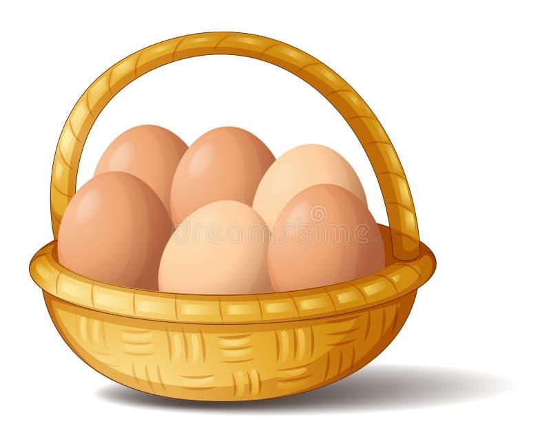 Ein Korb mit sechs Eiern lizenzfreie abbildung