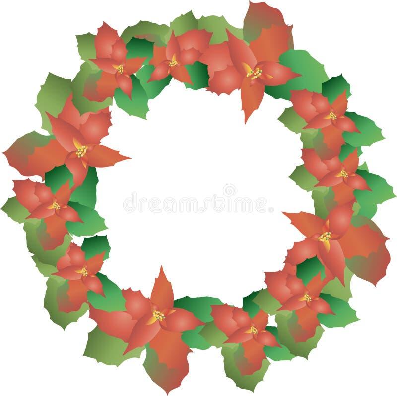 ein kranz von puansettia weihnachtsrosen weihnachtsstern auf wei gr ne und rote bl tter die. Black Bedroom Furniture Sets. Home Design Ideas