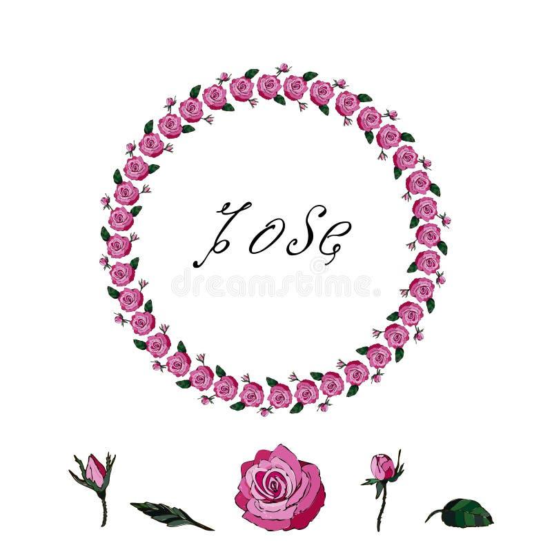 Ein Kranz von roten Rosen Stilvoller Kranz von roten Rosen auf einem weißen Hintergrund stock abbildung