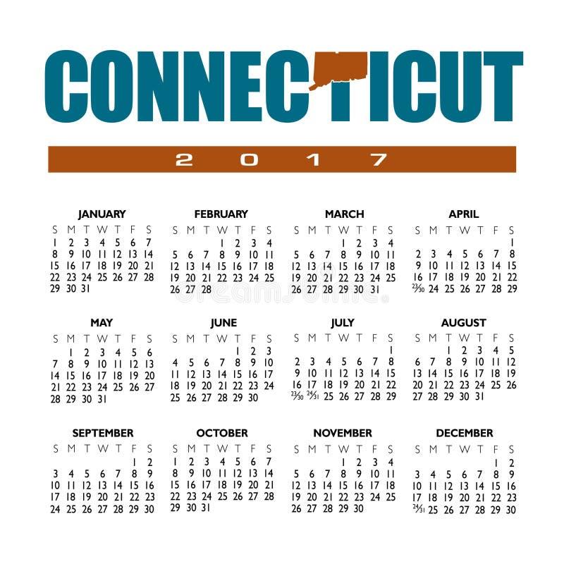 Ein 2017 kreativer Connecticut Kalender vektor abbildung