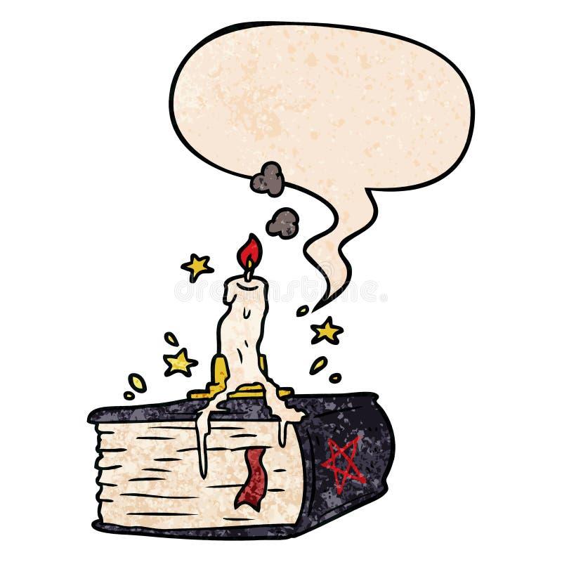 Ein kreatives Cartoon-Spooky-Zauberbuch und eine treibende Kerze und Sprachblase im Retro-Stil stock abbildung
