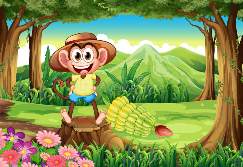 Ein lächelnder Affe am Wald, der über dem Stumpf steht lizenzfreie abbildung
